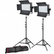 BRESSER LED conjunto de photo/vidéo 2x LG-600 38W/5600LUX + 2x Soporte de luz