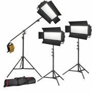 BRESSER LED conjunto de photo/vidéo 3x LG-1200 72W/11.800LUX + 3x Soporte de luz