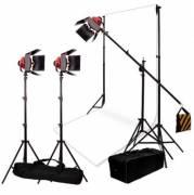 BRESSER Kit de Iluminación y de Fondo de Estudio No.7 con 3 Lámparas halógenas SG-800D con Reductor de Luz
