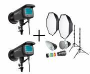 BRESSER 2x flash de estudio CM300 + conjunto No1 accesorios de estudio