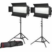 BRESSER conjunto foto-video. 2x lámpara LED LG-1200 71W / 11.800LUX + 2 trípodes