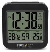 Despertador digital de Viaje y de Mesa EXPLORE SCIENTIFIC controlado por radio y con Indicación de la Temperatura interior