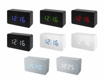 Despertador radio controlado BRESSER MyTime W aspecto madera con LED de colores