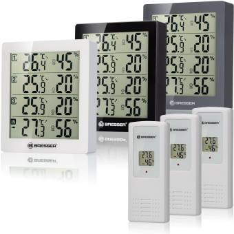 Termómetro e higrómetro BRESSER Temeo Higro Quadro con 4 datos de medida independientes