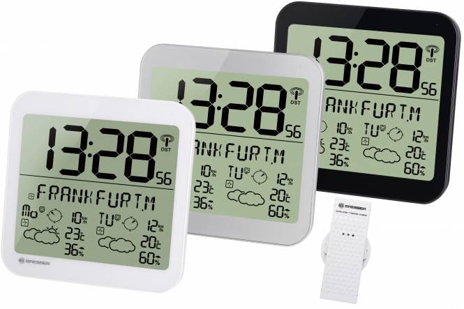 BRESSER MyTime Meteotime reloj de pared con información meteorológica LCD