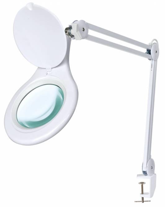 BRESSER 2x 125mm Lámpara de mesa con pinza y lupa LED